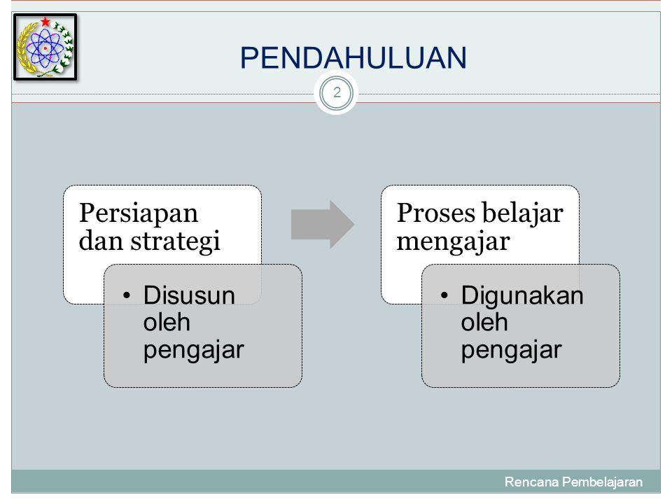 PENDAHULUAN Persiapan dan strategi Proses belajar mengajar