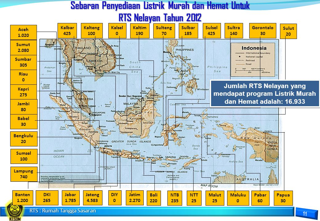 Sebaran Penyediaan Listrik Murah Dan Hemat Untuk RTS Daerah Tertinggal Tahun 2012