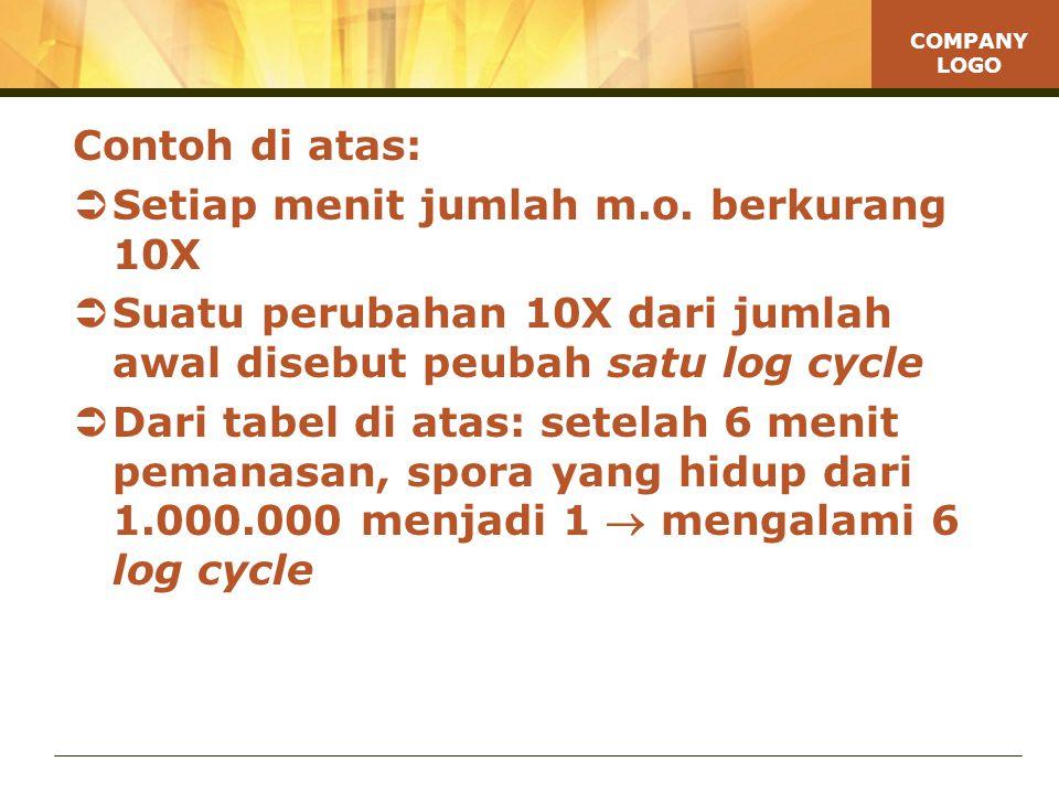Contoh di atas: Setiap menit jumlah m.o. berkurang 10X. Suatu perubahan 10X dari jumlah awal disebut peubah satu log cycle.
