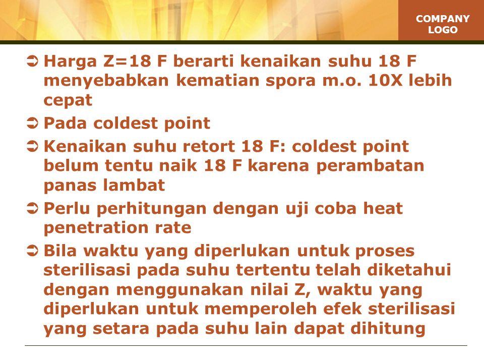 Harga Z=18 F berarti kenaikan suhu 18 F menyebabkan kematian spora m.o. 10X lebih cepat