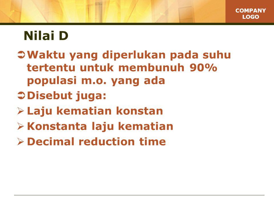 Nilai D Waktu yang diperlukan pada suhu tertentu untuk membunuh 90% populasi m.o. yang ada. Disebut juga: