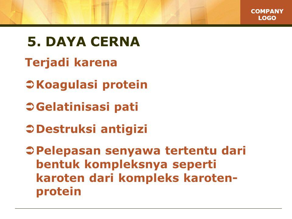 5. DAYA CERNA Terjadi karena Koagulasi protein Gelatinisasi pati
