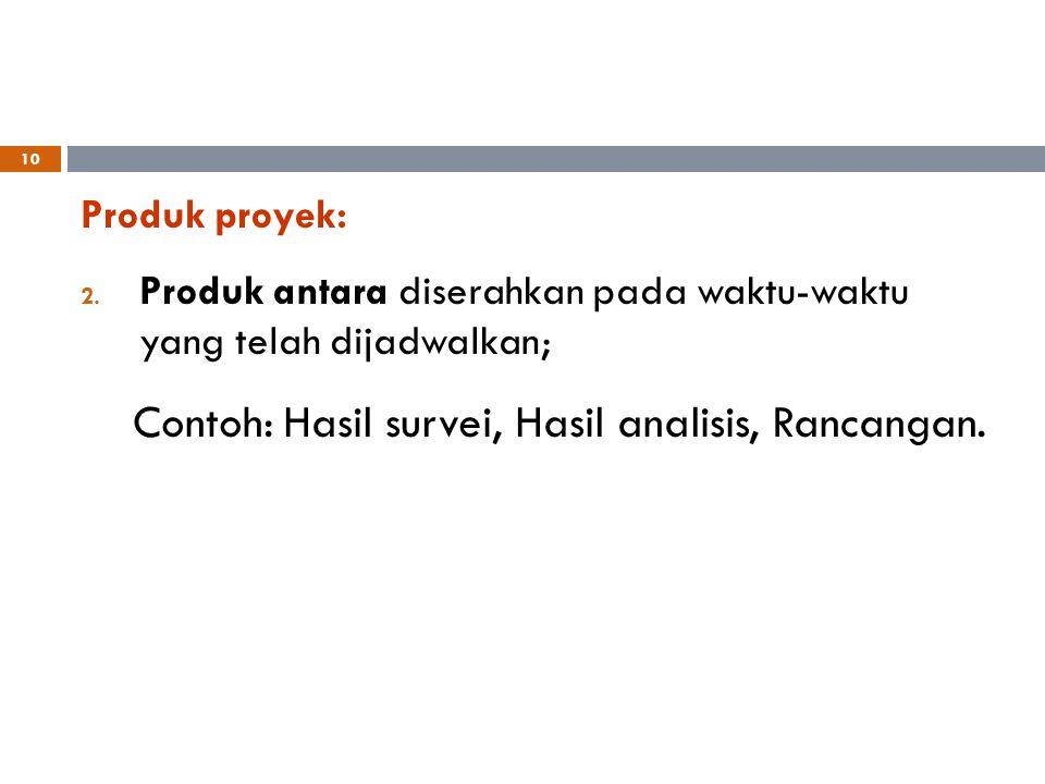 Contoh: Hasil survei, Hasil analisis, Rancangan.