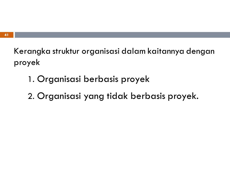 Organisasi berbasis proyek Organisasi yang tidak berbasis proyek.