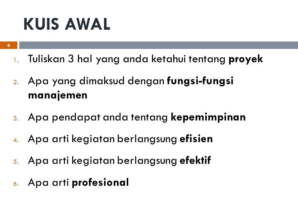 KUIS AWAL Tuliskan 3 hal yang anda ketahui tentang proyek