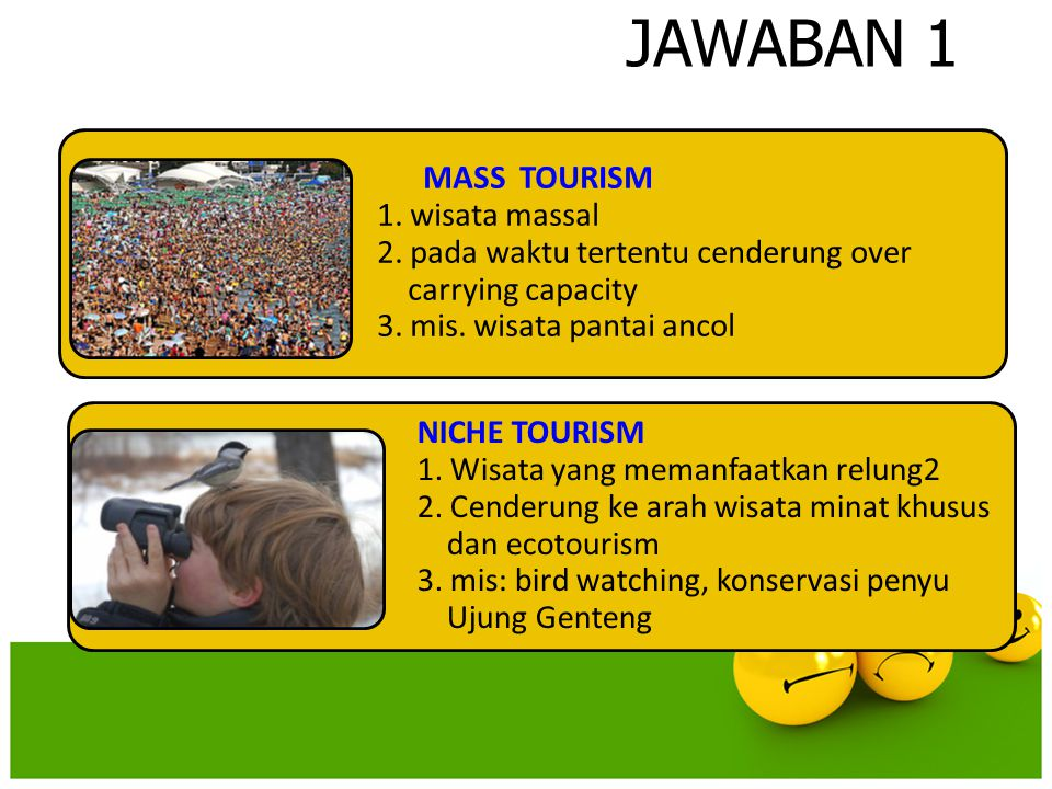 JAWABAN 1 NICHE TOURISM 1. Wisata yang memanfaatkan relung2