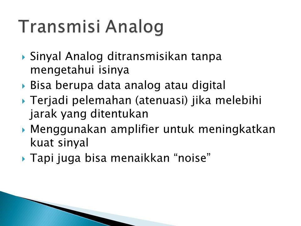 Transmisi Analog Sinyal Analog ditransmisikan tanpa mengetahui isinya