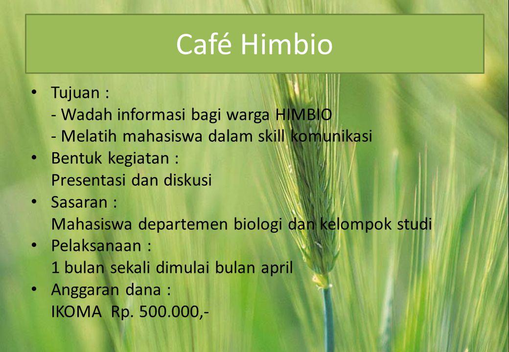 Café Himbio Tujuan : - Wadah informasi bagi warga HIMBIO