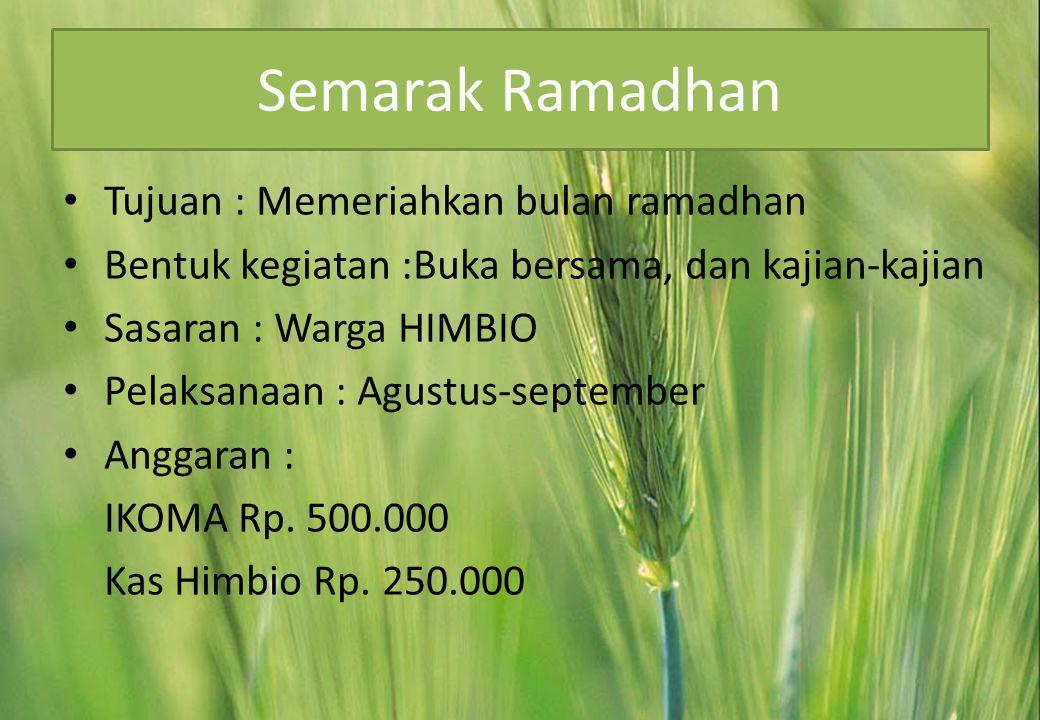 Semarak Ramadhan Tujuan : Memeriahkan bulan ramadhan