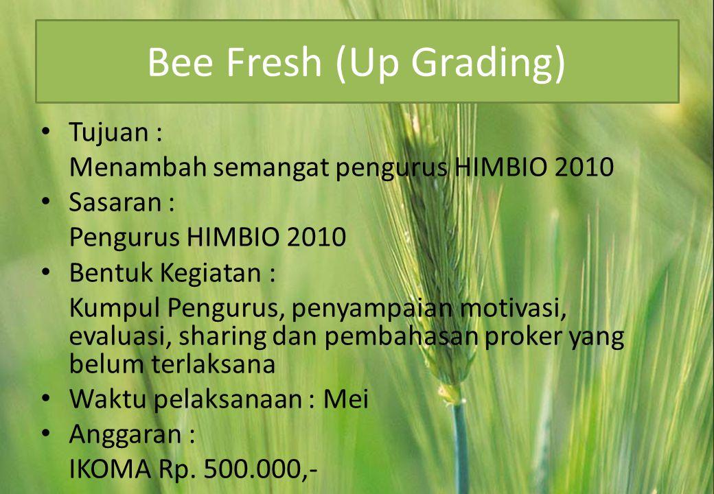 Bee Fresh (Up Grading) Tujuan : Menambah semangat pengurus HIMBIO 2010