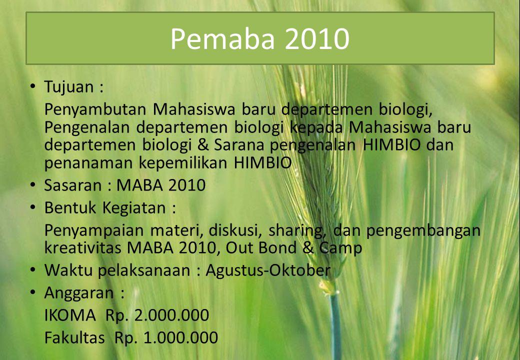 Pemaba 2010 Tujuan :