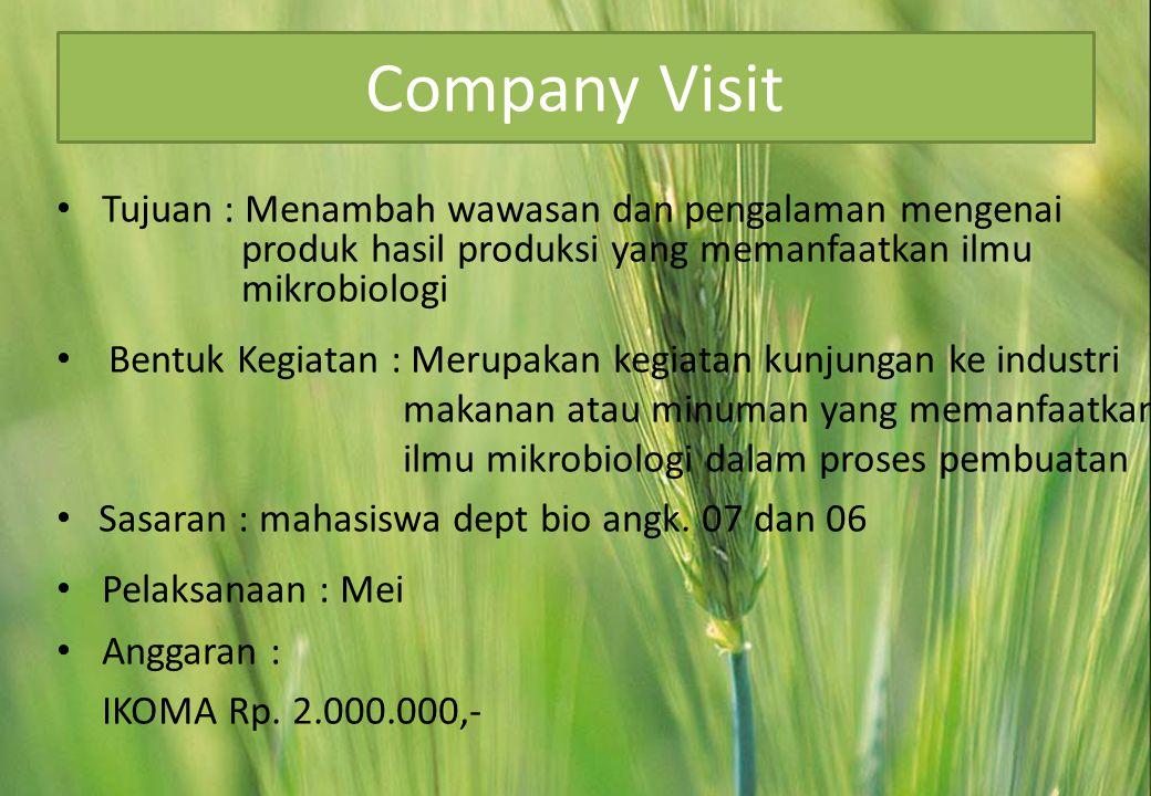 Company Visit Tujuan : Menambah wawasan dan pengalaman mengenai produk hasil produksi yang memanfaatkan ilmu mikrobiologi.