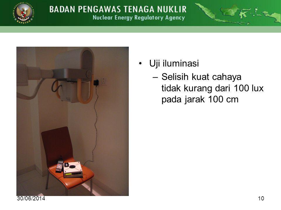 Selisih kuat cahaya tidak kurang dari 100 lux pada jarak 100 cm