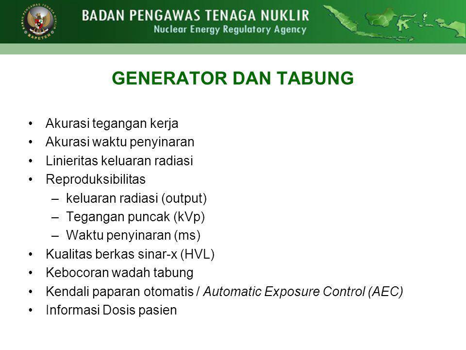 GENERATOR DAN TABUNG Akurasi tegangan kerja Akurasi waktu penyinaran