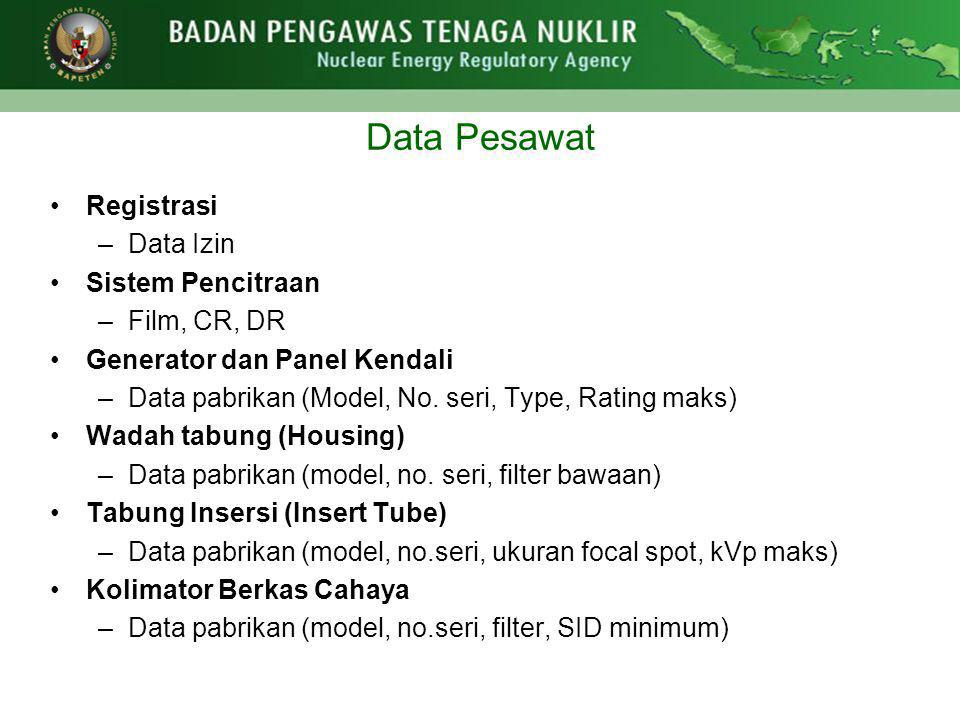 Data Pesawat Registrasi Data Izin Sistem Pencitraan Film, CR, DR