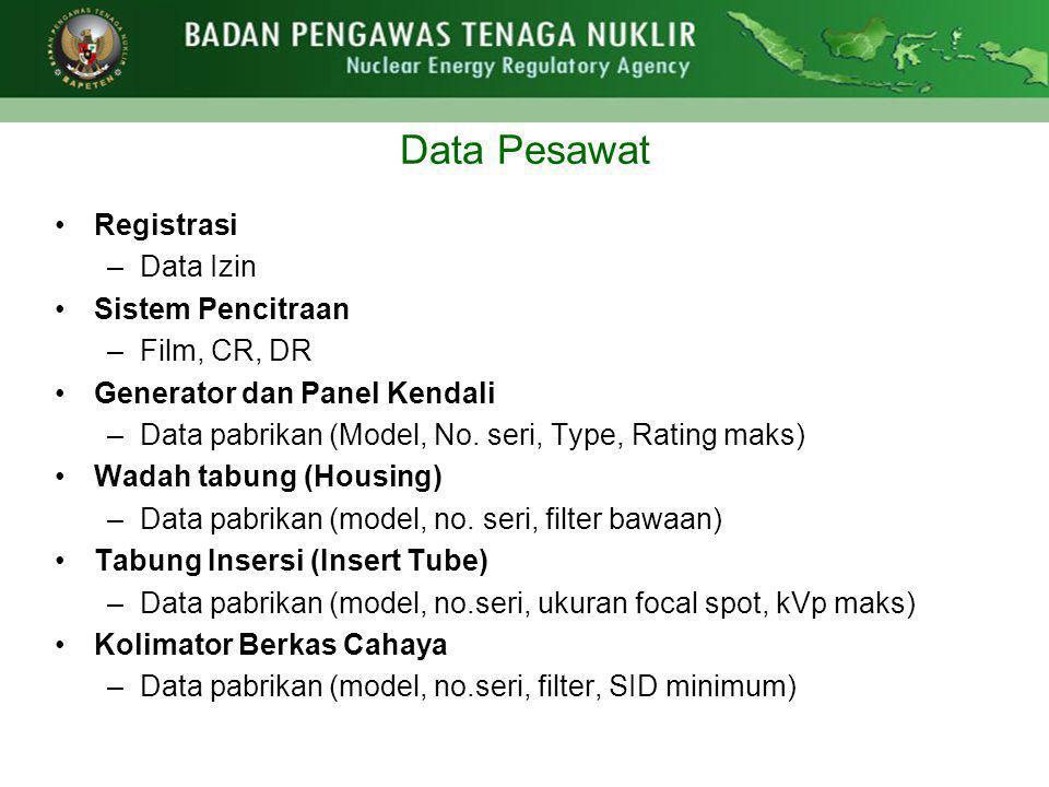 Data Pesawat Registrasi Data Izin Sistem Pencitraan Film, CR, DR