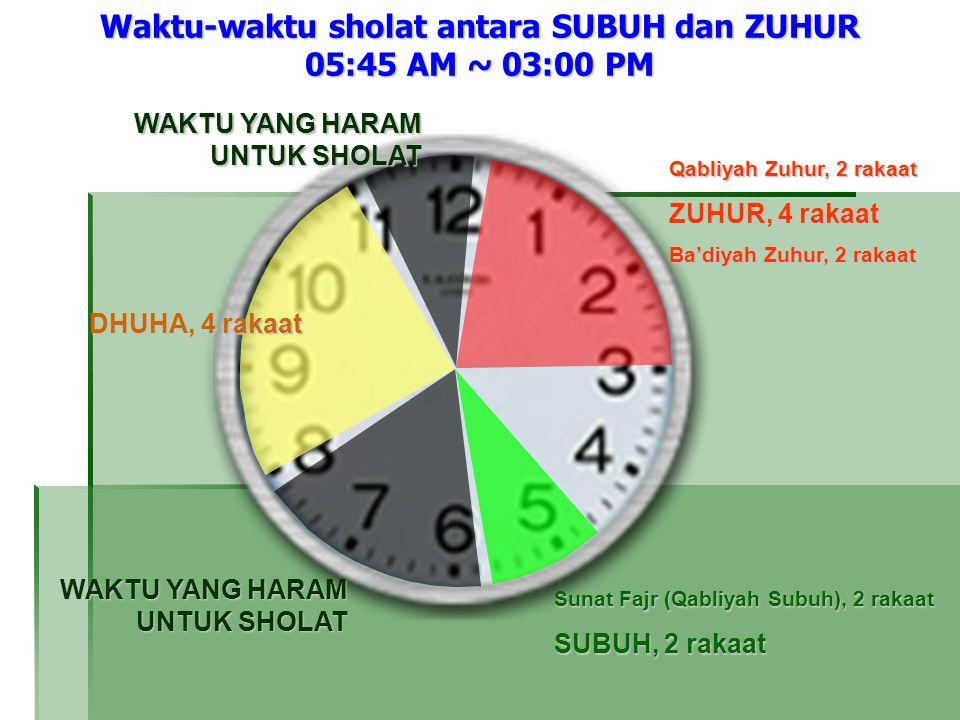 Waktu-waktu sholat antara SUBUH dan ZUHUR 05:45 AM ~ 03:00 PM