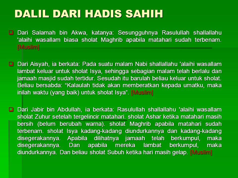DALIL DARI HADIS SAHIH