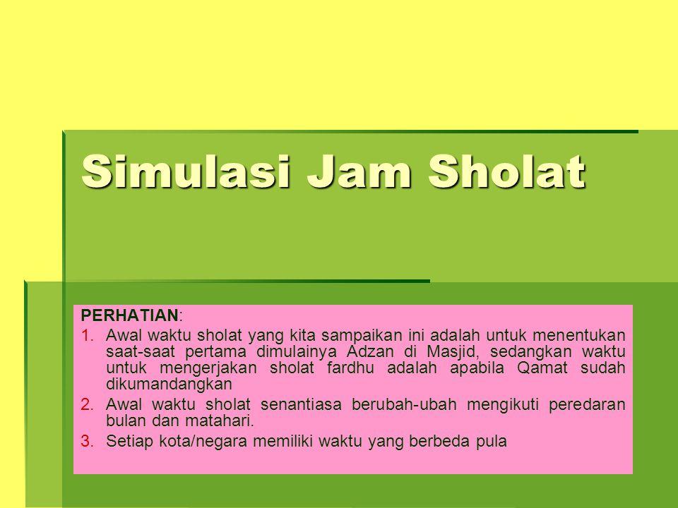 Simulasi Jam Sholat PERHATIAN: