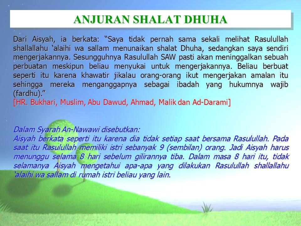 ANJURAN SHALAT DHUHA