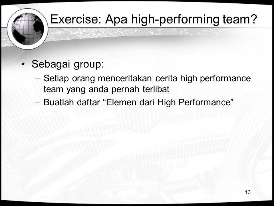 Exercise: Apa high-performing team