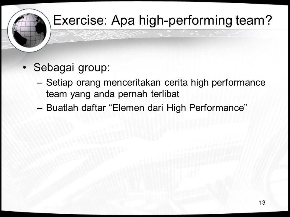 Exercise: Apa high-performing team