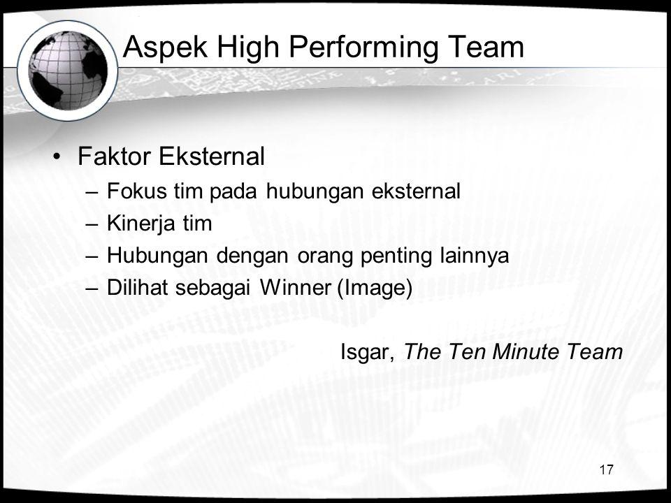 Aspek High Performing Team