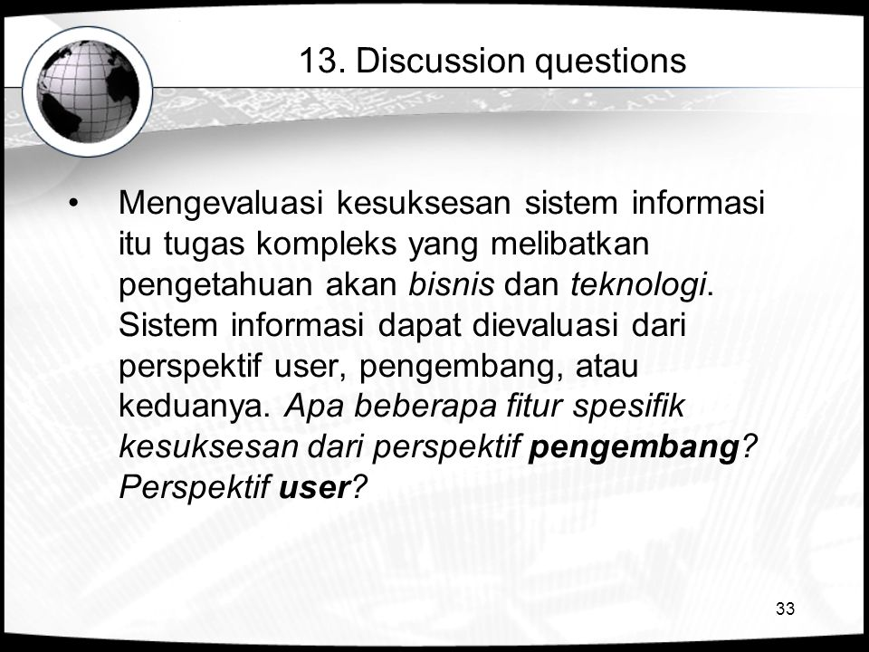 13. Discussion questions