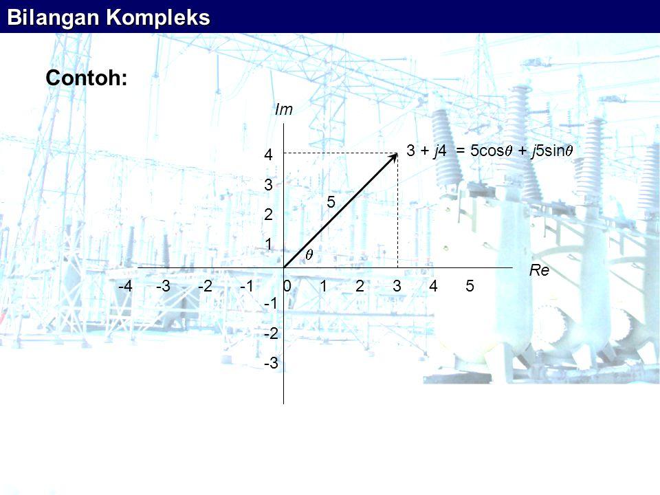Bilangan Kompleks Contoh: -4 -3 -2 -1 0 1 2 3 4 5 Re Im 4 3 2 1 -1 -2