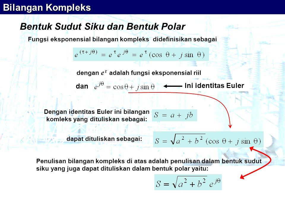 Dengan identitas Euler ini bilangan komleks yang dituliskan sebagai: