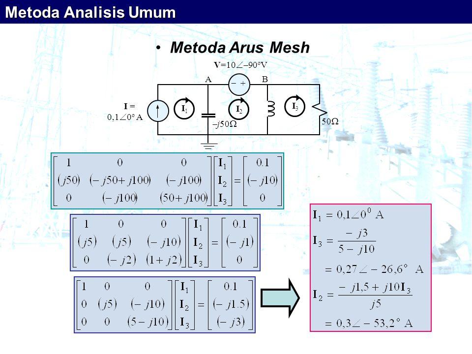 Metoda Analisis Umum Metoda Arus Mesh   I = 0,10o A V=1090oV