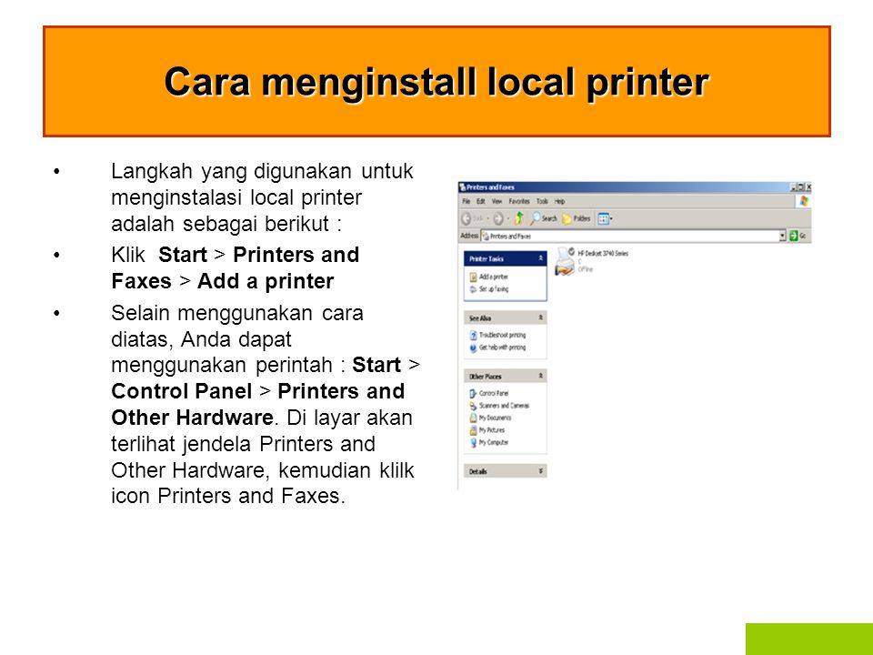 Cara menginstall local printer
