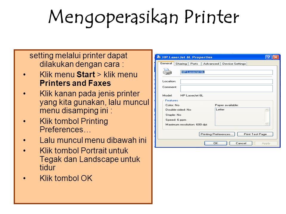 Mengoperasikan Printer