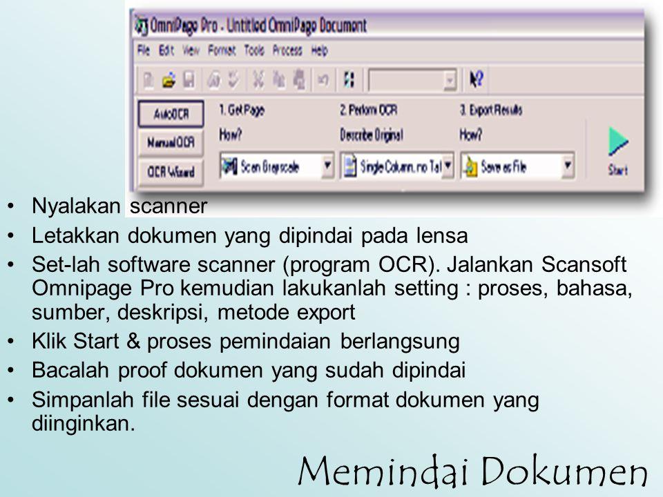 Memindai Dokumen Nyalakan scanner