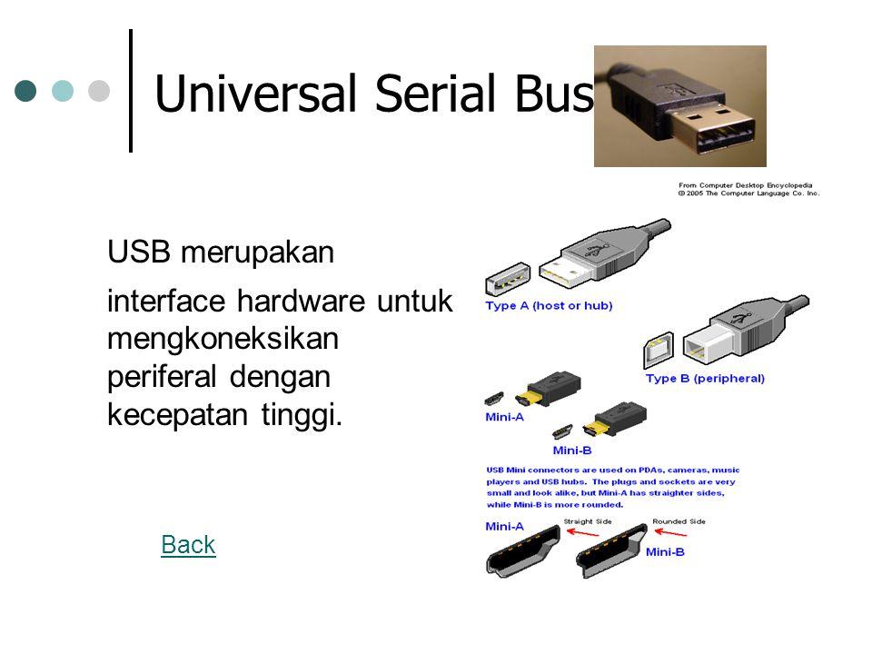 Universal Serial Bus USB merupakan interface hardware untuk mengkoneksikan periferal dengan kecepatan tinggi.