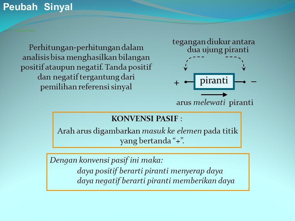 Peubah Sinyal piranti  + tegangan diukur antara dua ujung piranti
