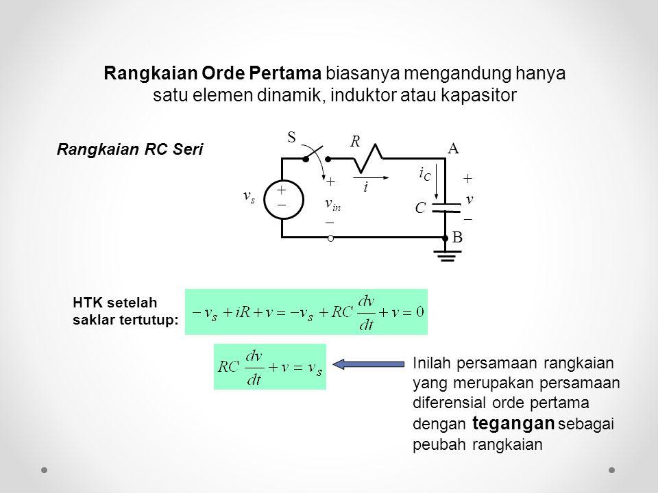 Rangkaian Orde Pertama biasanya mengandung hanya satu elemen dinamik, induktor atau kapasitor