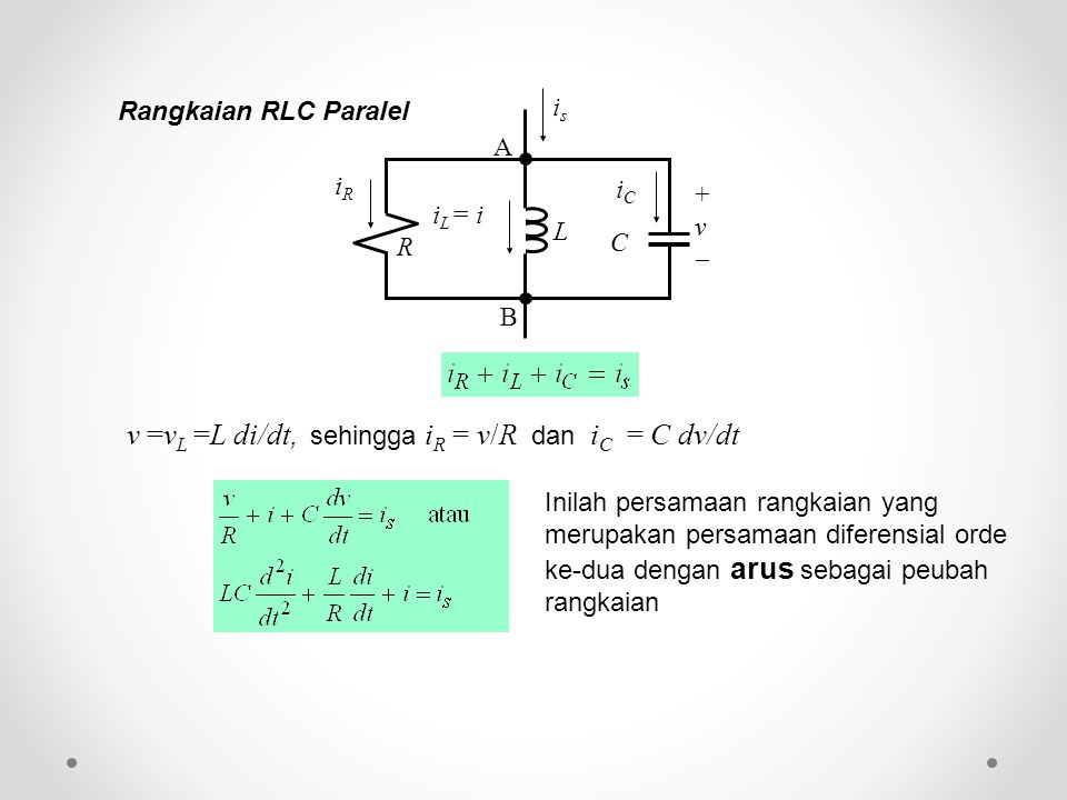 v =vL =L di/dt, sehingga iR = v/R dan iC = C dv/dt