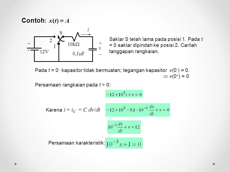 Contoh: x(t) = A 12V. 10k + v.  S. 2. 1. - 0,1F. i.