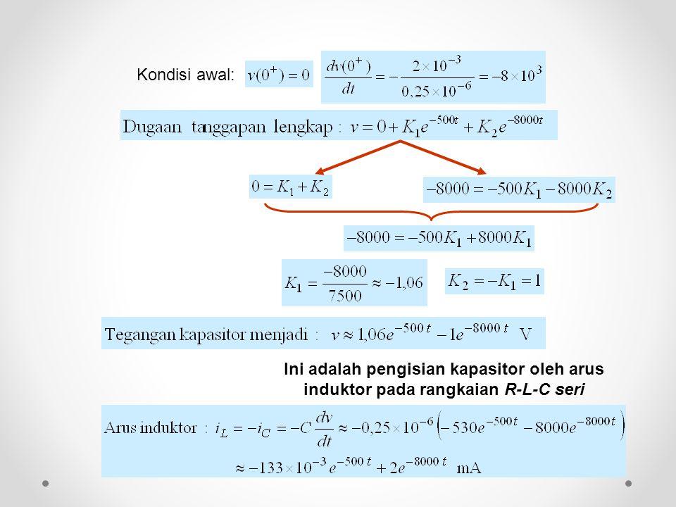 Kondisi awal: Ini adalah pengisian kapasitor oleh arus induktor pada rangkaian R-L-C seri