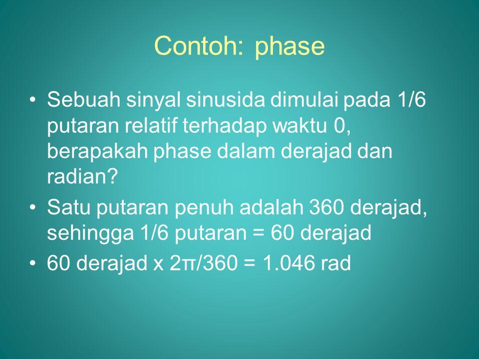 Contoh: phase Sebuah sinyal sinusida dimulai pada 1/6 putaran relatif terhadap waktu 0, berapakah phase dalam derajad dan radian