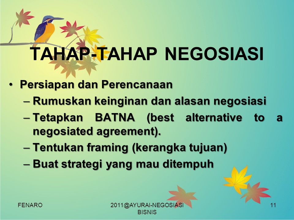 TAHAP-TAHAP NEGOSIASI