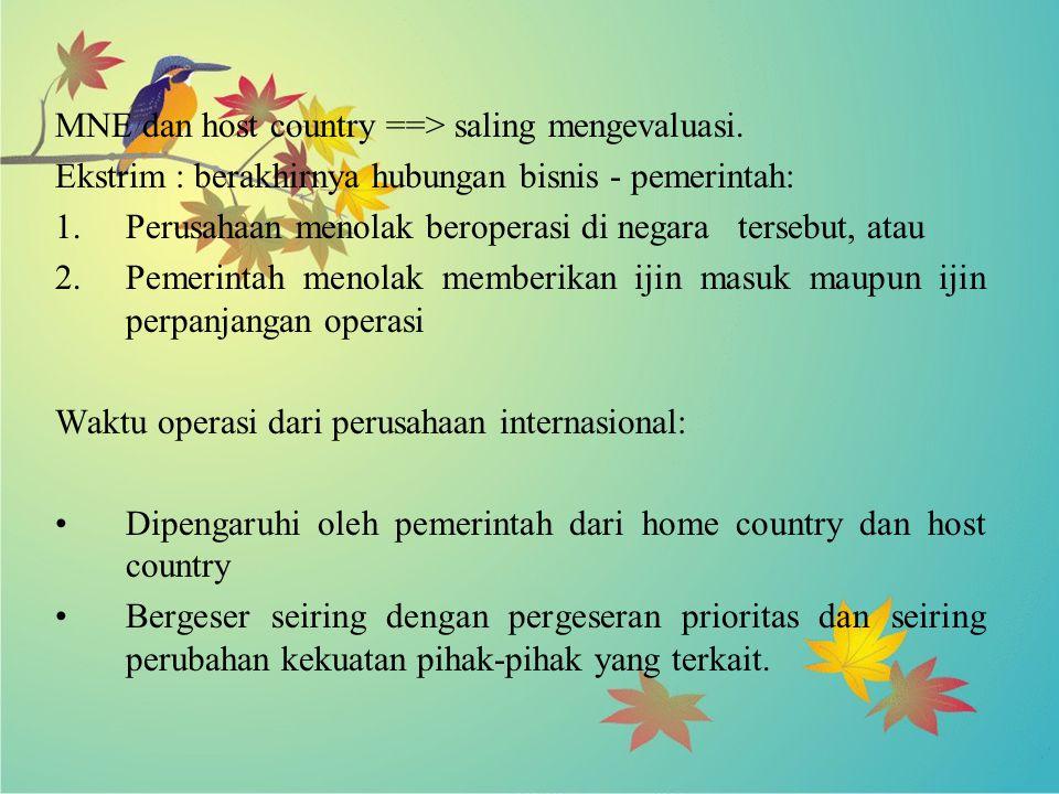 MNE dan host country ==> saling mengevaluasi.