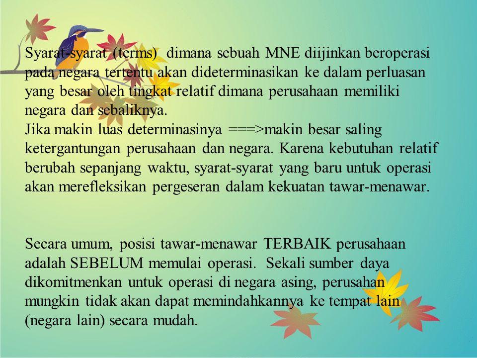 Syarat-syarat (terms) dimana sebuah MNE diijinkan beroperasi