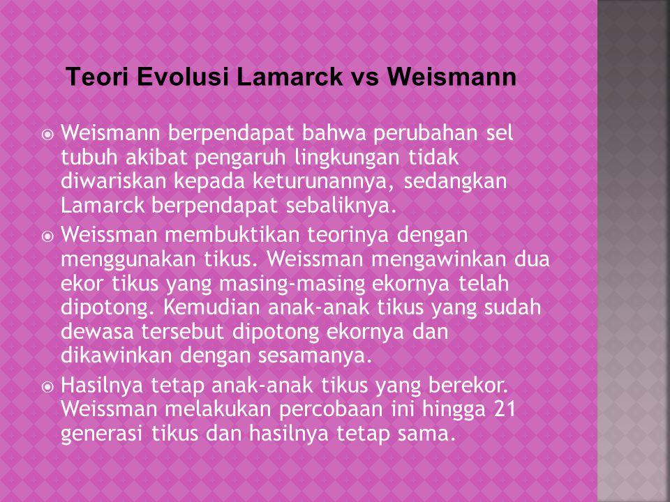 Teori Evolusi Lamarck vs Weismann