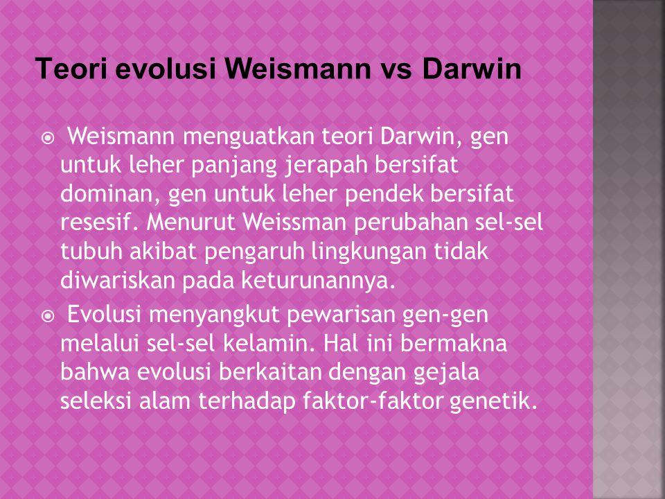 Teori evolusi Weismann vs Darwin