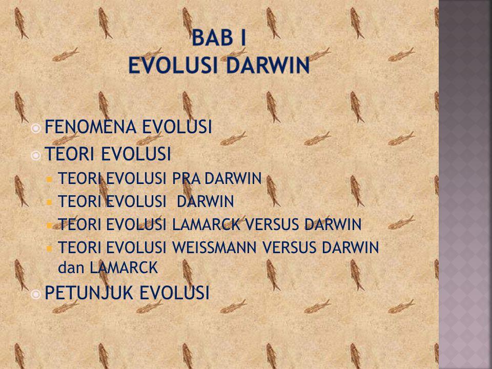Bab i EVOLUSI DARWIN FENOMENA EVOLUSI TEORI EVOLUSI PETUNJUK EVOLUSI