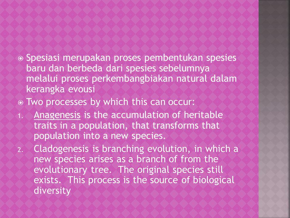 Spesiasi merupakan proses pembentukan spesies baru dan berbeda dari spesies sebelumnya melalui proses perkembangbiakan natural dalam kerangka evousi