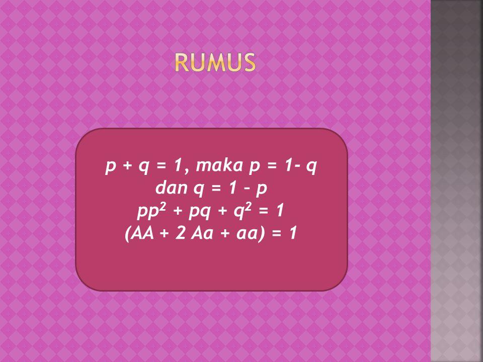 Rumus p + q = 1, maka p = 1- q dan q = 1 – p pp2 + pq + q2 = 1
