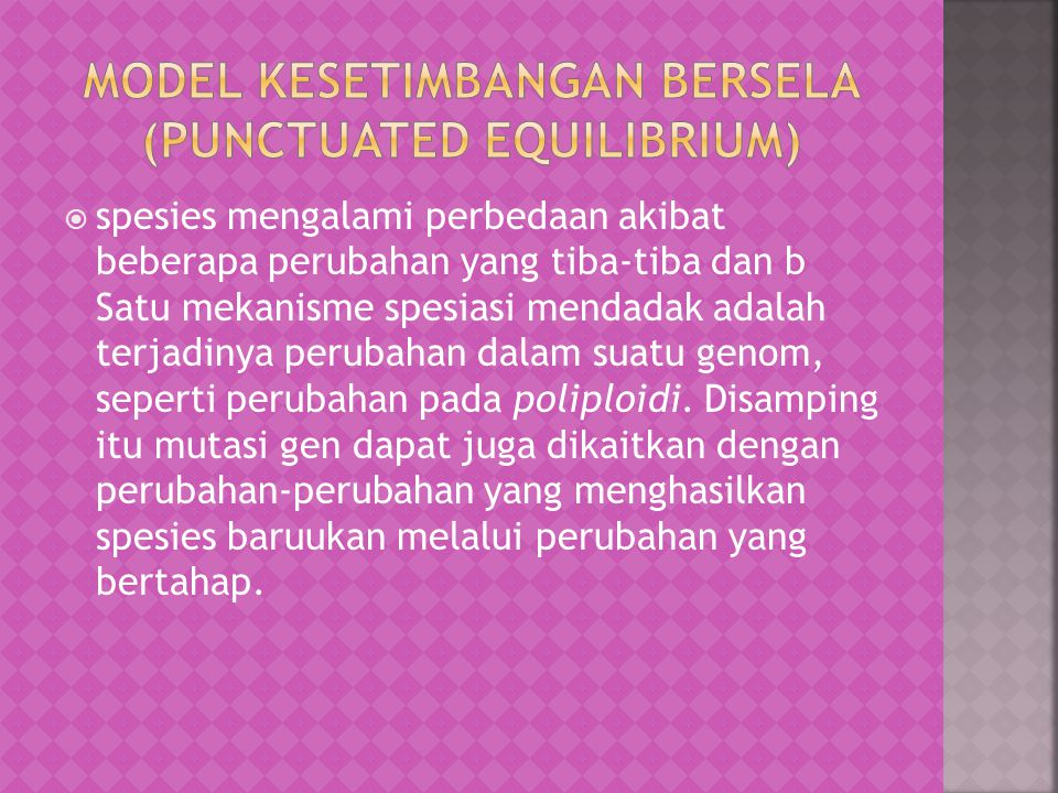 Model Kesetimbangan Bersela (Punctuated Equilibrium)